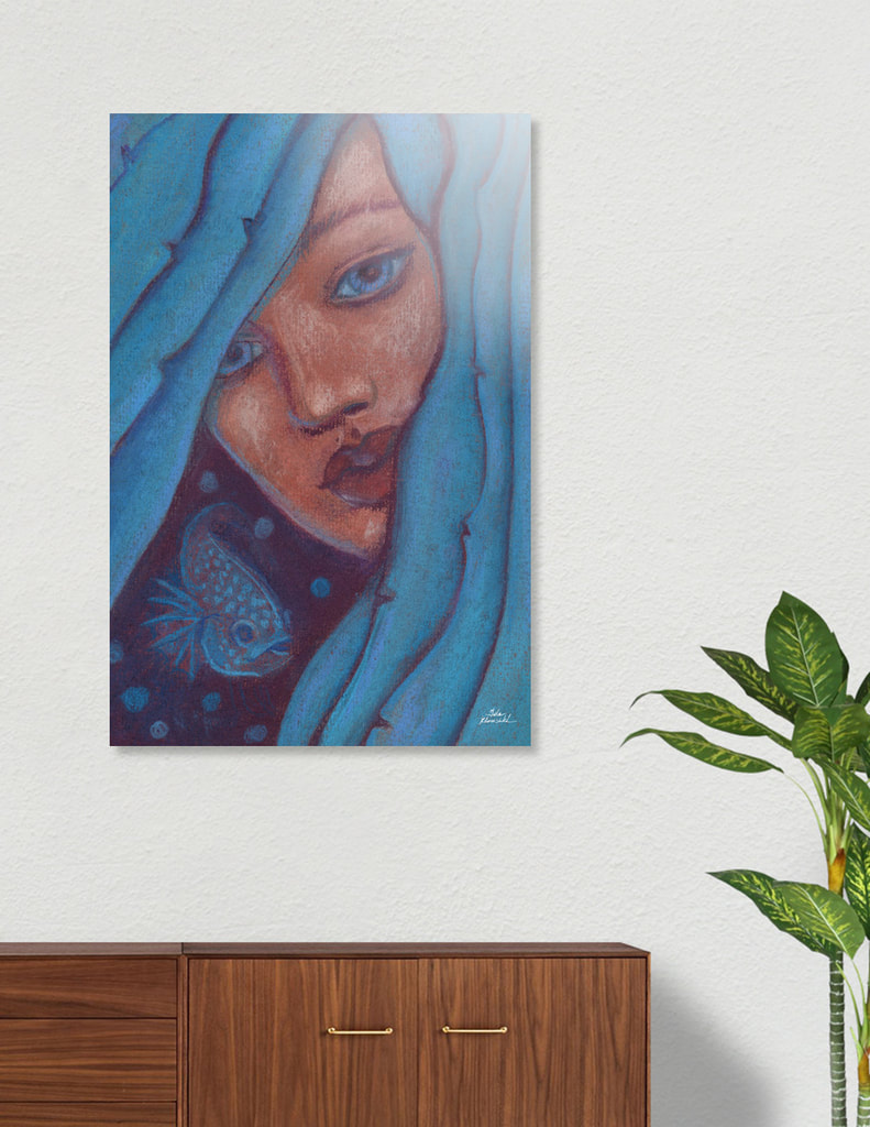 Mermaid with blue hair, imaginary portrait, art print on acrylic board