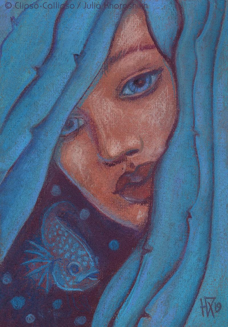 Blue Hair Mermaid Portrait Pastel Painting Fantasy Art