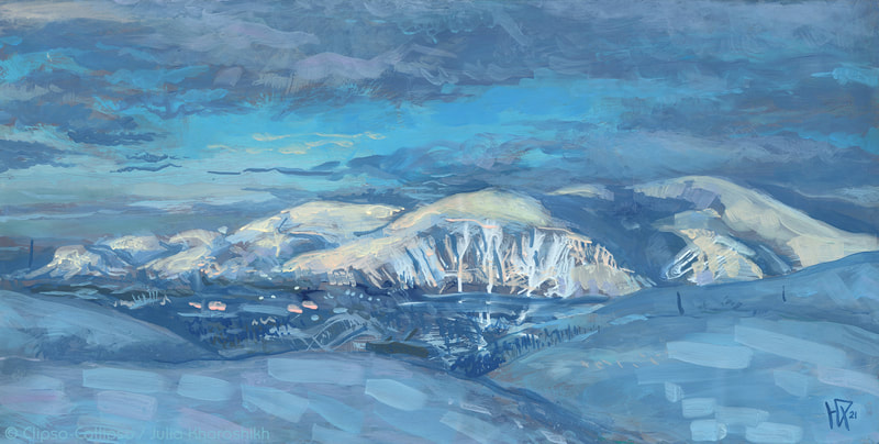 """Khibiny"", landscape painting, depicting Khibiny mountains (North of Russia, kola peninsula).  Land of ice and snow, huge hills and small town in a valley. Snowscape in azure blue shades. Acrylic on paper, 98 x 49 cm, 02 2021. Prints and original are available for sale."