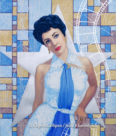 "Elizabeth Taylor in white lace dress with blue necktie. Huge silver star, silver screen tapes and blue, ocher and mocca rectangles (hommage to Mondrian) with tiny patterns as a background. Portrait from the ""Old Hollywood"" series, 2009. Celebrity portrait, fine art, acrylic painting. © Clipso-Callipso / Julia Khoroshikh"