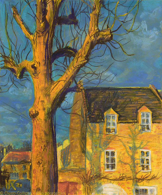 Pastel drawing, street view from small town in Normandie, France. Yellow brick house with tiled roof, old poplar tree, tree shades and blue spring sky. Soft pastels on yellow paper, 24 x 29 cm, 02 2021 Prints and original are available.